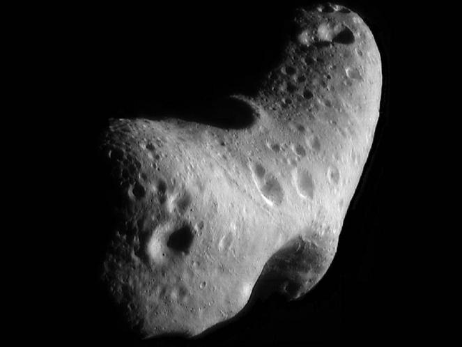 A close-up image of the asteroid Eros.