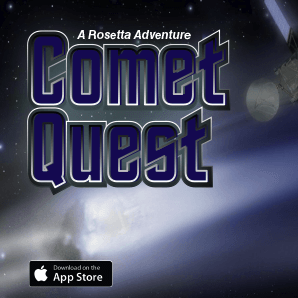 an illustrated game box cover for the Comet Quest game