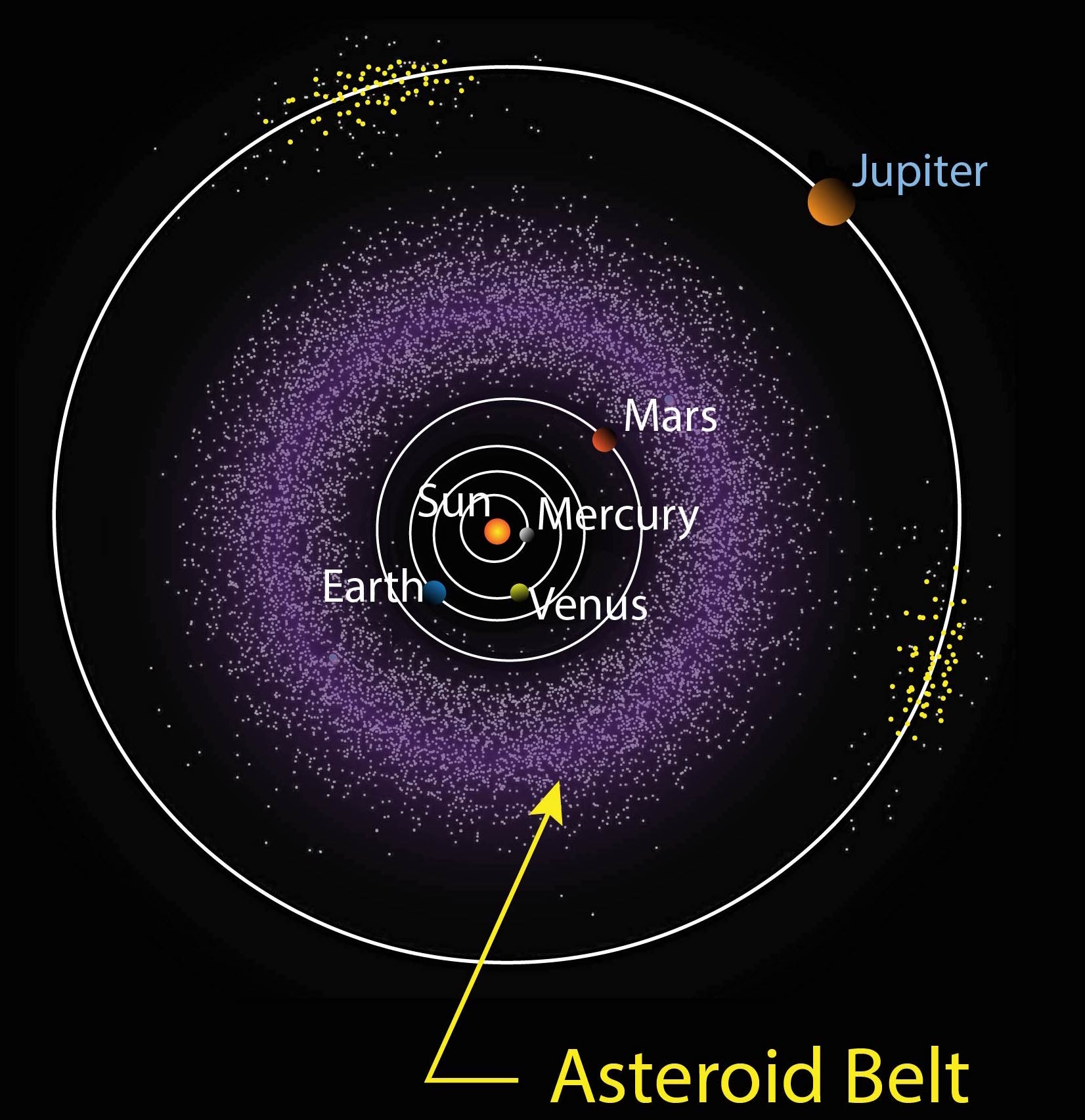 asteroid belt Although their location in the asteroid belt excludes them from planet status, the three largest objects, ceres, vesta, and pallas, are intact protoplanets that share many characteristics common to planets, and are atypical compared to the majority of potato-shaped asteroids.