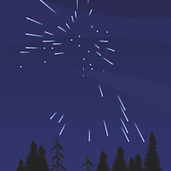 an illustration of a meteor shower in the sky