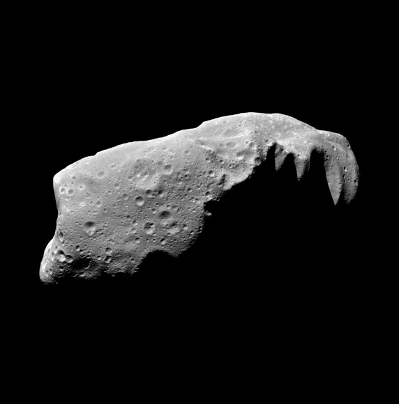 A close-up image of the asteroid Ida.