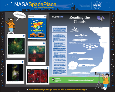 a mockup of a NASA Space Place display