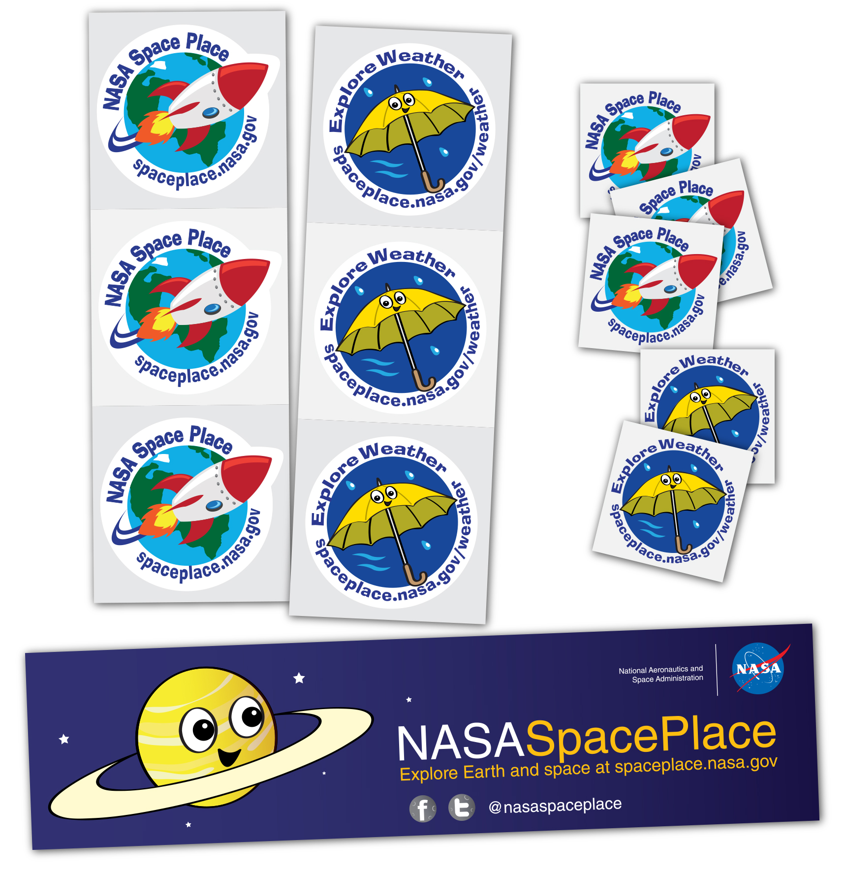 illustration of Space Place stickers and tattoos
