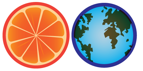 a diagram of earth with a thick layer of blue around it compared to an orange cut so you can see how thick the peel is and how it's similar to the thickness of the atmosphere around earth, relatively