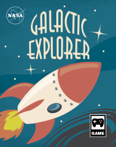 an illustrated game box that says Galactic Explorer