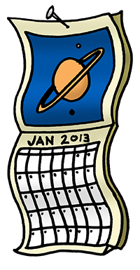 Cartoon of space Place calendar.