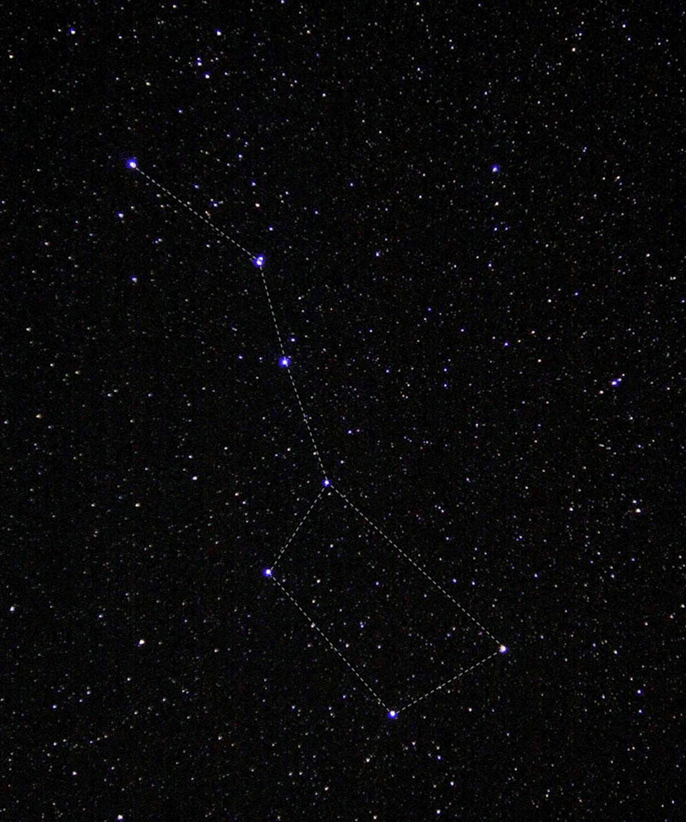 A group of stars with a line traced through them to form the Big Dipper.