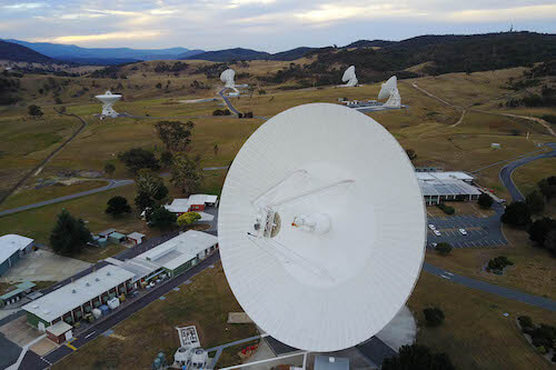 The dish-shaped radio antennas at the DSN complex in Canberra, Australia.