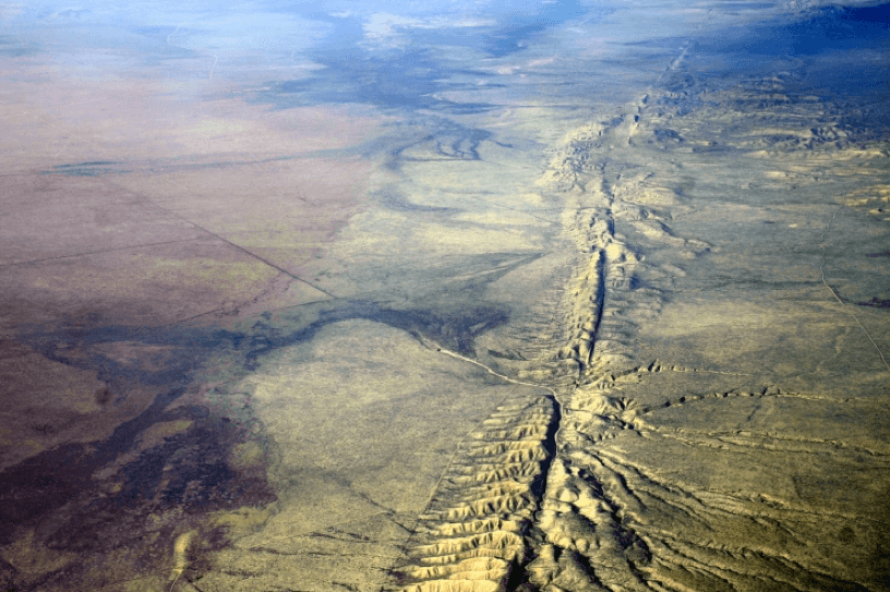 An aerial photograph of the San Andreas Fault.