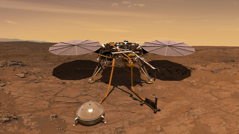 An artist's renduring of the Mars InSight lander operating on the surface of Mars