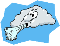 Cartoon cloud blowing wind.