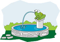 Cartoon frog spouting water from mouth.