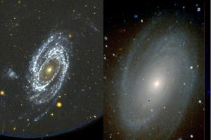 Spiral galaxy, two images.