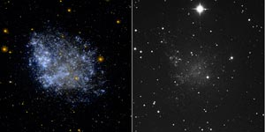 Two images of a galaxy, splotchy blue on left, barely visible on right.