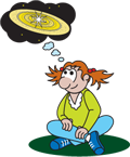 Cartoon of seated girl day-dreaming about the solar system.