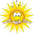 Cartoon of the Sun with 'solar indigestion.'