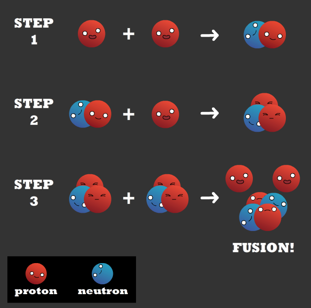 this diagram shows the mechanism of fusion: two protons combine and form a proton and neutron. That then combines with another proton. When two of those then combine, fusion occurs.