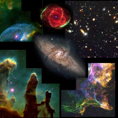 Montage of space images taken by Hubble Space Telescope.