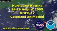 Small image of movie frame says Hurricane Katrina 24-29 August 2005, GOES-12 colored animation.