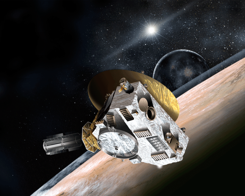 Artist's idea of New Horizons spacecraft in the Pluto-Charon system.