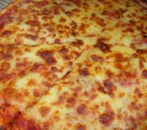Photo of a cheese pizza.