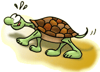 Cartoon tortoise struggling uphill.