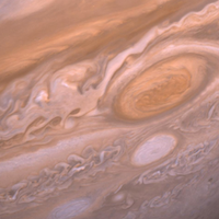a close up view of Jupiter's great red spot