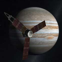 an artist's rendering of the Juno spacecraft in front of Jupiter