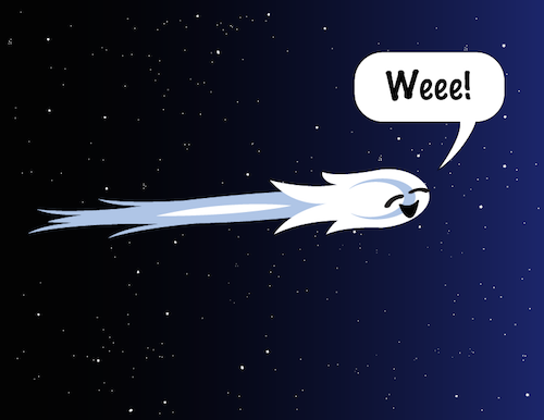 Cartoon of a comet saying: Weee!