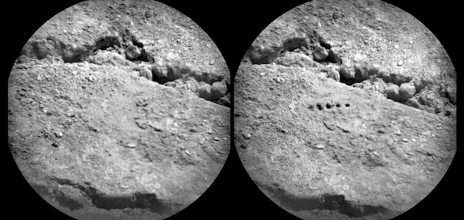 This is a picture of Martian soil before and after it was zapped by the Curiosity rover's laser instrument called ChemCam.