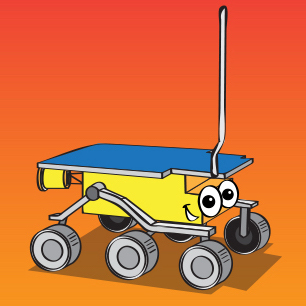 an illustrated version of the NASA Mars rovers