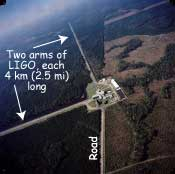 Aerial photo of LIGO showing two long arms at right angles.