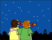 Cartoon girls gaze at night sky.