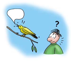 Cartoon of boy with no hears and bird trying to sing but apparently no sound is coming out.