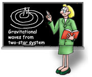 Cartoon teacher explains gravitational waves at chalkboard