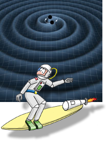 Cartoon of an astronaut on a surfboard riding a gravitational wave.