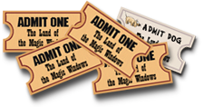 Cartoon of four tickets, including Admit One Dog.