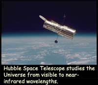 Hubble space Telescope studies the Universe from visible to near-infrared wavelengths.