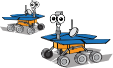 a cartoon of the Spirit and Opportunity rovers with smiling faces