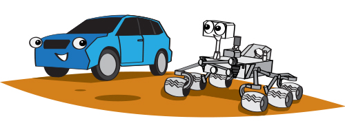 a cartoon illustration of the Curiosity rover next to a small SUV
