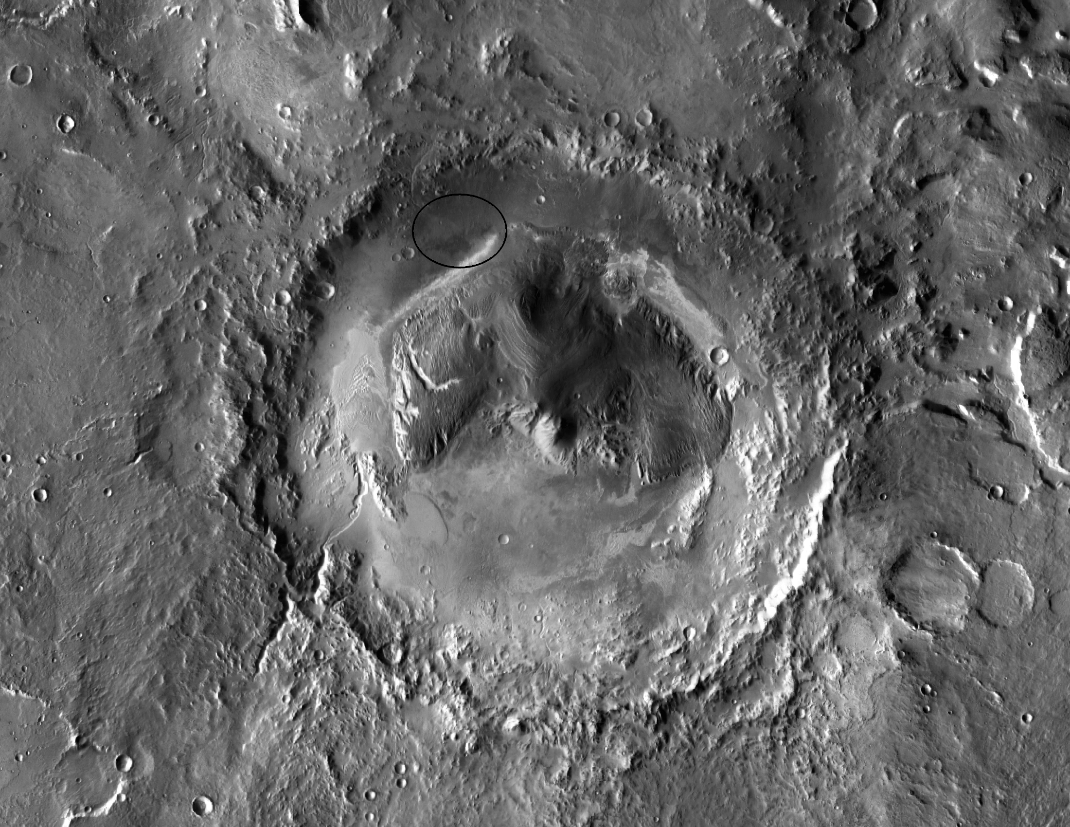an image of Gale Crater from above