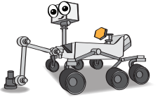 a cartoon of the Mars 2020 rover with a smiling face