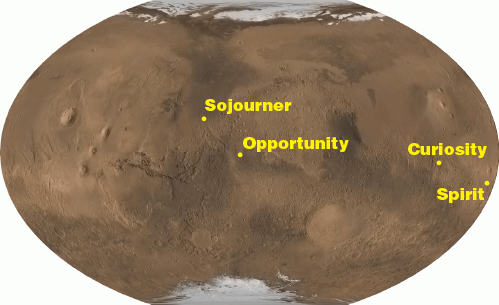 a map of Mars showing the landing sites of each rover