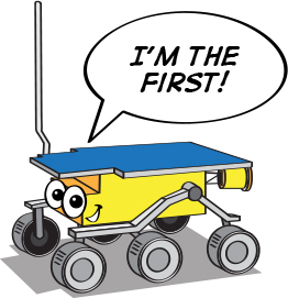 a cartoon illustration of the Sojourner rover