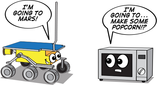 a cartoon illustration of the Sojourner rover next to a microwave oven