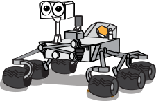a cartoon of the Curiosity rover with a smiling face  width=