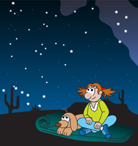 Cartoon girl and dog sit on sleeping bag in the desert looking at the night sky full of stars.
