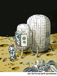 Cartoon of inflatable Moon habitat, with three astronauts.
