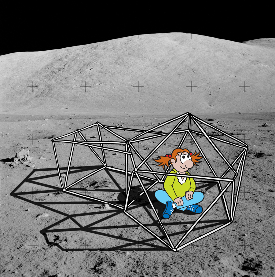 Cartoon of newspaper log habitat on the lunar surface, with cartoon girl sitting inside.