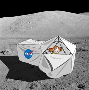 Cartoon of Mars newspaper log Moon habitat, on the Moon,  cover with sheet, cut away to show cartoon girl inside.